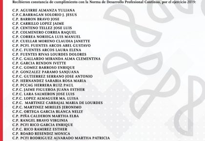 ASOCIADOS DEL COLEGIO DE CONTADORES PUBLICOS DE SALAMANCA, A.C. QUE CUMPLIERON CON LA NDPC