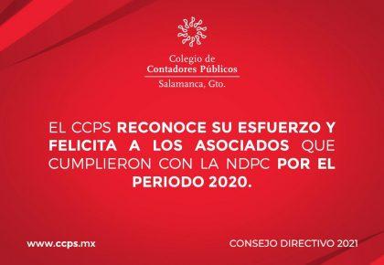 Asociados que cumplieron con la NDPC por el periodo 2020